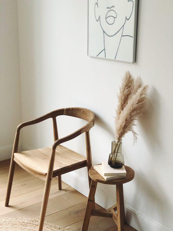 Chaise teck avec accoudoirs