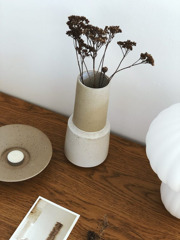 Vase céramique bi matière